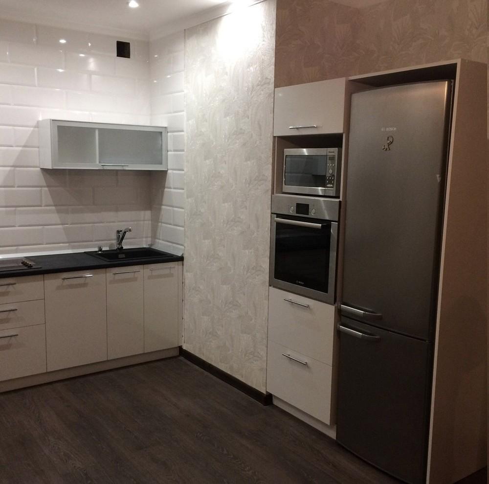 Белый кухонный гарнитур-Кухня МДФ в ПВХ «Модель 158»-фото1