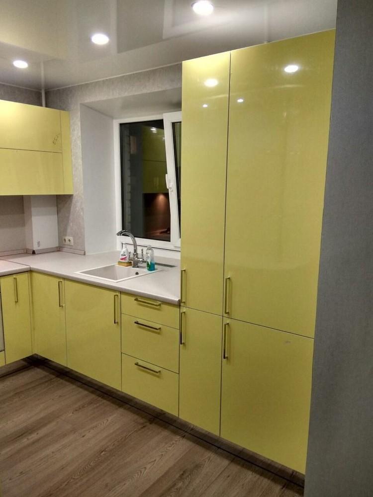 Акриловые кухни-Кухня МДФ в эмали «Модель 163»-фото2