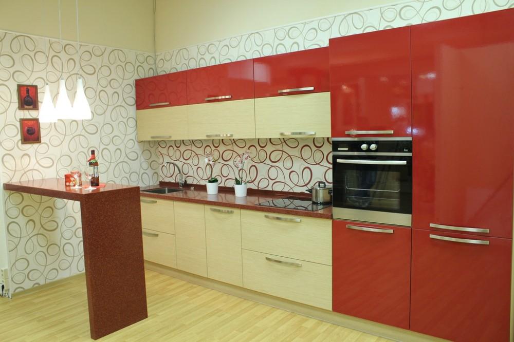 Акриловые кухни-Кухня из пластика «Модель 129»-фото1