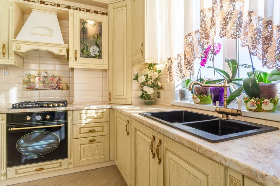 Белый кухонный гарнитур-Кухня из шпона «Модель 3»-фото7
