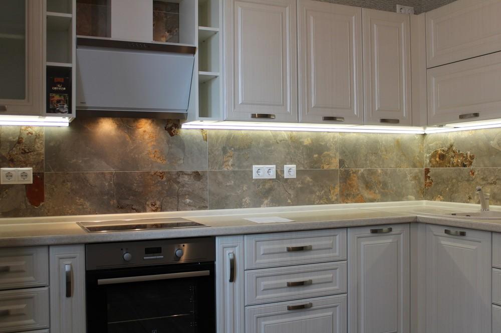 Белый кухонный гарнитур-Кухня МДФ в ПВХ «Модель 232»-фото5