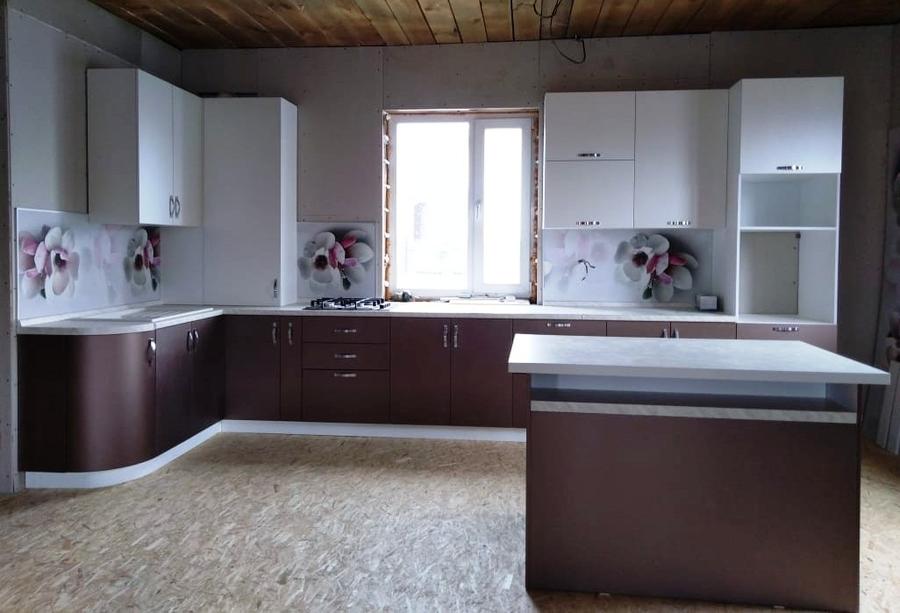 Белый кухонный гарнитур-Кухня из пластика «Модель 392»-фото1