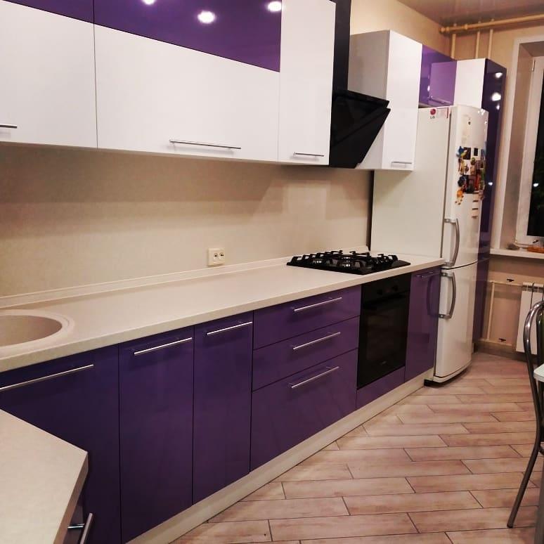 Белый кухонный гарнитур-Кухня из пластика «Модель 489»-фото2