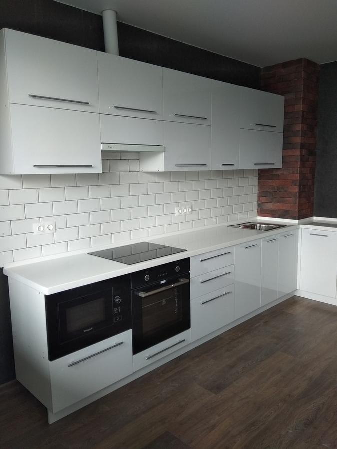 Белый кухонный гарнитур-Кухня из пластика «Модель 461»-фото2