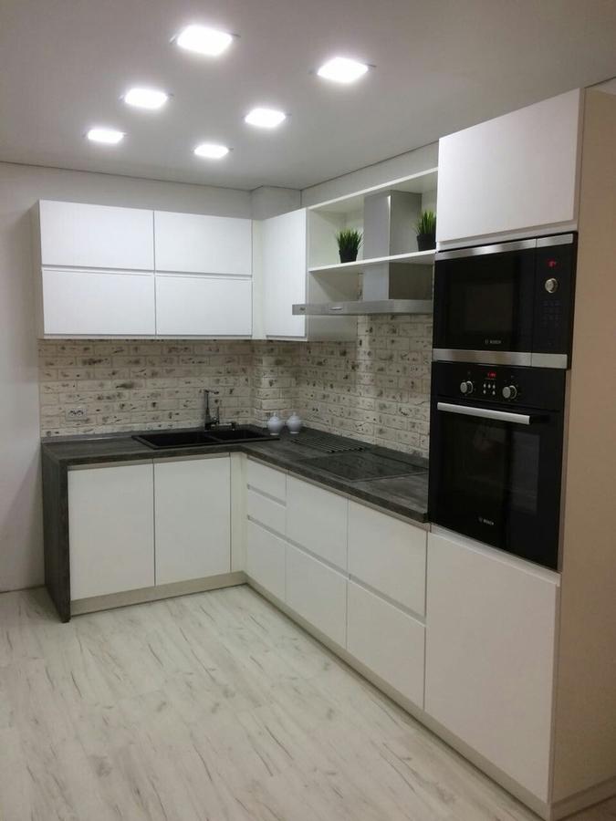Белый кухонный гарнитур-Кухня МДФ в эмали «Модель 462»-фото1