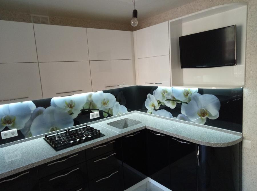 Белый кухонный гарнитур-Кухня из пластика «Модель 382»-фото3
