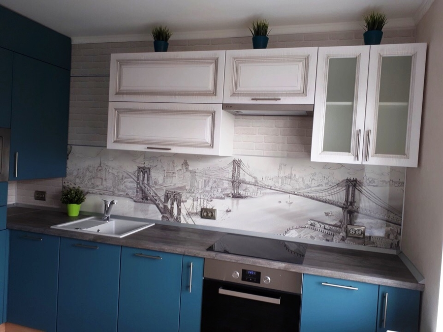Белый кухонный гарнитур-Кухня из пластика «Модель 375»-фото3