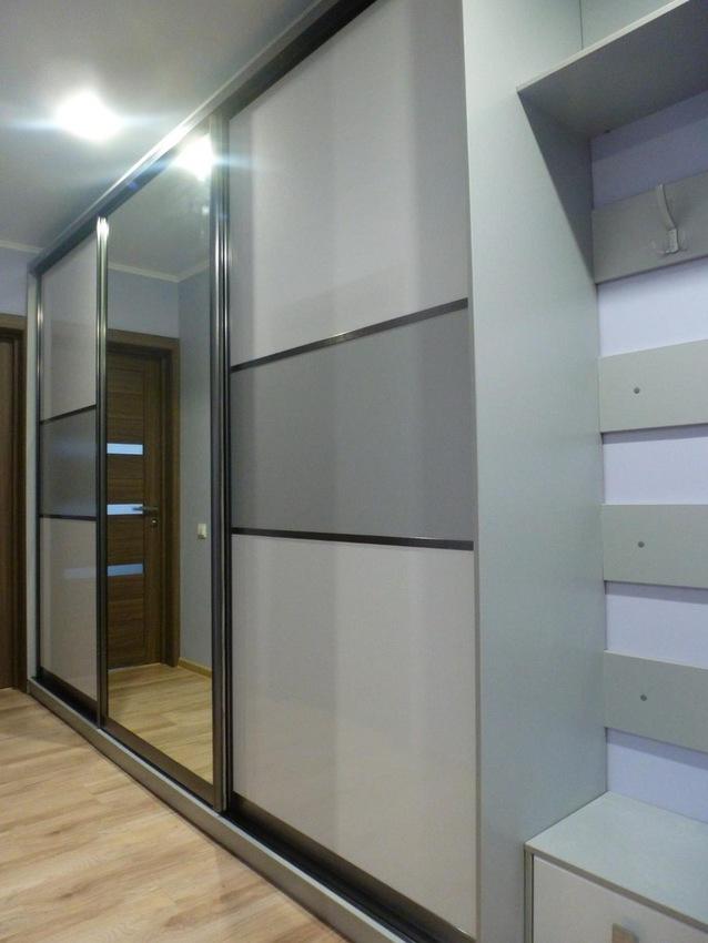 Бельевой шкаф-купе-Шкаф-купе с зеркалом «Модель 274»-фото1
