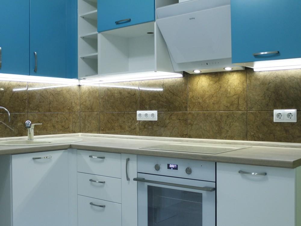 Встроенная кухня-Кухня МДФ в ПВХ «Модель 162»-фото1