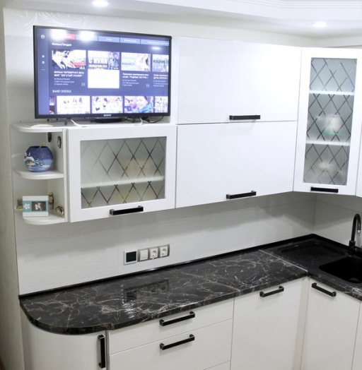 Белый кухонный гарнитур-Кухня МДФ в ПВХ «Модель 300»-фото10